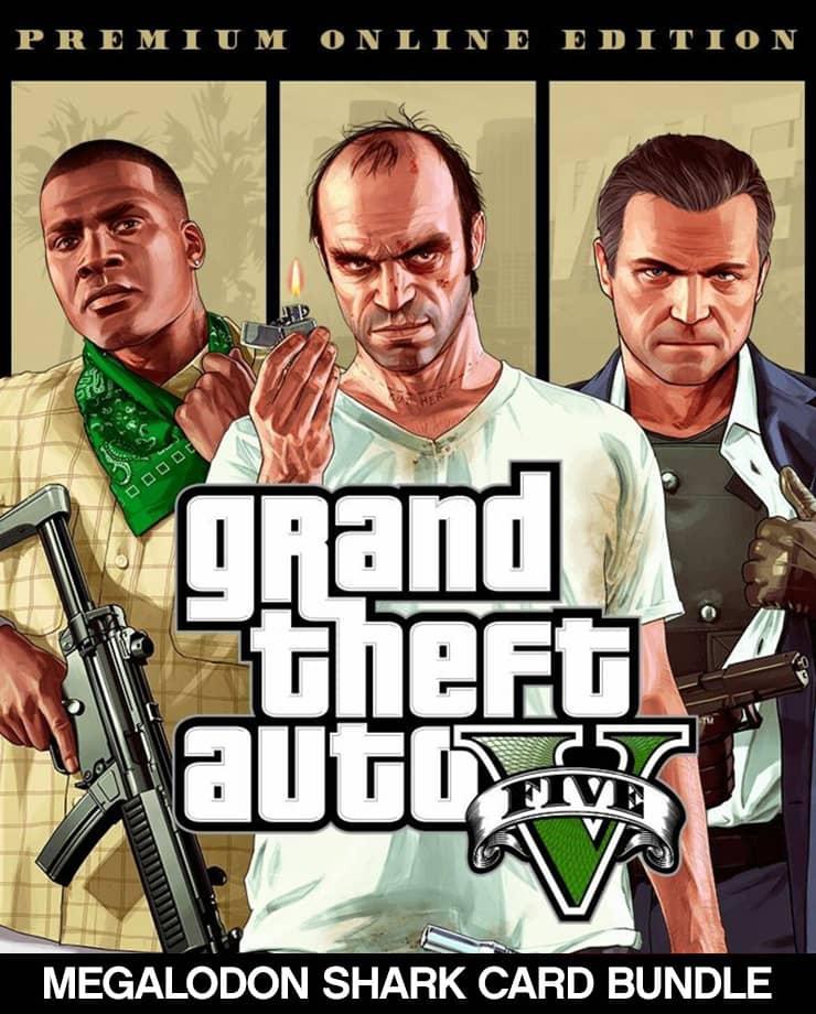 Grand Theft Auto V: Premium Online Edition + Megalodon Shark Card Bundle